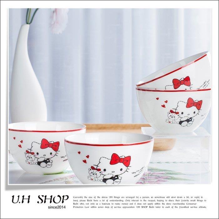 【 U.H SHOP】HELLO KITTY 凱蒂貓 日式陶瓷米飯碗餐具