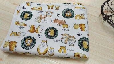 豬豬日本拼布 可愛水豚君 動物款 牛津布厚棉布材質