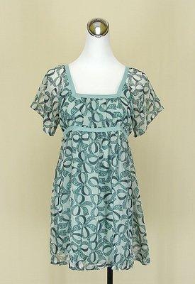 ◄貞新二手衣►non.stop 專櫃 粉藍蝴蝶結羅馬領短袖緞面雪紡紗洋裝F號(80717)