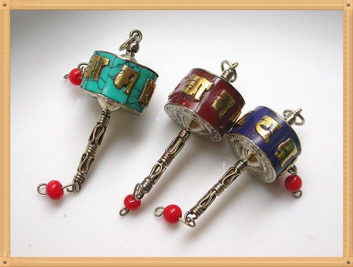 【雅之賞|藏傳|佛教文物】 *特賣*佛珠配件 尼泊爾手工迷你轉經筒掛吊墜(3個)~Q1575
