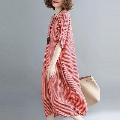 999大蘿莉大碼女裝夏季豎條紋寬鬆短袖棉麻連身裙女氣質顯瘦A字裙子CY下單後請備註顏色尺寸