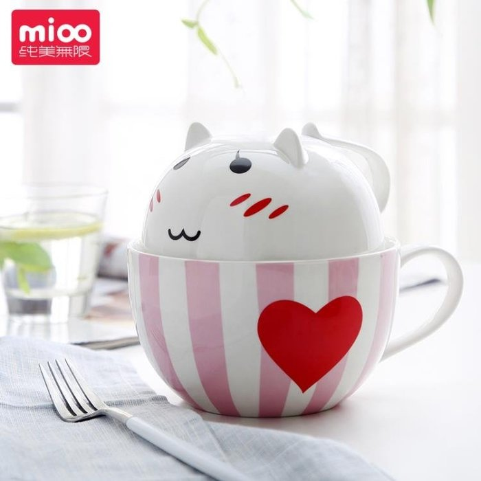 純美無限陶瓷可愛碗泡面杯帶蓋大號個性創意韓國方便面單個