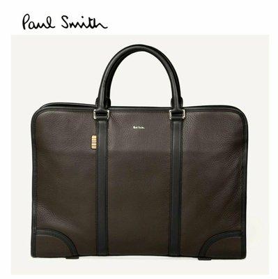 Paul Smith  ( 深棕色 )  真皮 手提包 肩背包 公事包 紳士包 中性款 100%全新正品 特價!
