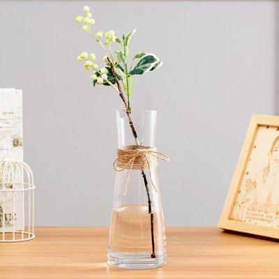 簡歐彩色麻繩透明玻璃花瓶客廳餐桌家居裝飾擺設水培花器花盆擺件    全館免運