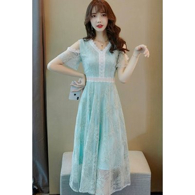 *Angel  Dance*短袖蕾絲洋裝(綠色)@韓國 露肩 小清新 V領 鏤空 雕花 小禮服 長款 顯瘦@現貨+預購