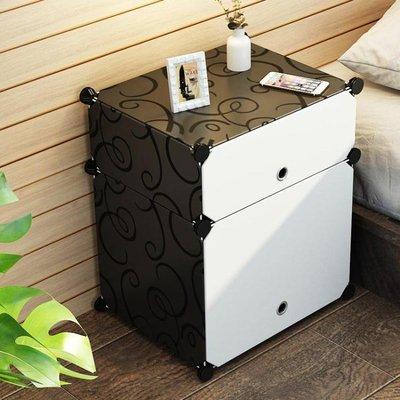 簡易床頭櫃簡約現代塑料臥室床頭收納櫃組裝迷你床邊小櫃子儲物櫃FA