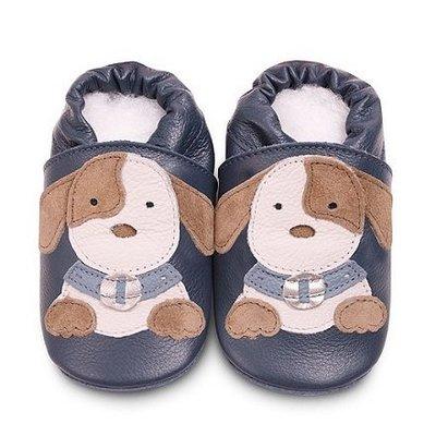 【愛寶貝】英國 shooshoos 健康無毒真皮手工學步鞋/嬰兒鞋/室內保暖鞋_海軍藍小狗狗(公司貨)