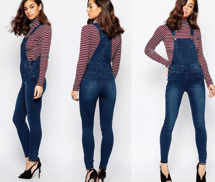 ◎美國代買◎ASOS代買大腿微刷白色合身九分長褲經典藍色顯廋英倫風藍色牛仔吊帶褲~歐美街風~大尺碼