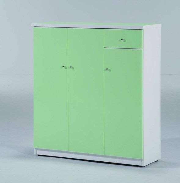 【龍來傢俱】17J綠白色3.2尺三門一抽鞋櫃~