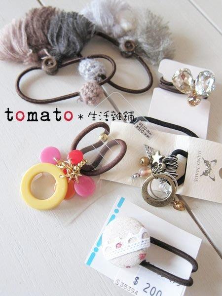 ˙TOMATO生活雜鋪˙日本進口雜貨毛料/壓克力/水鑽/包釦綜合髮束(特價)