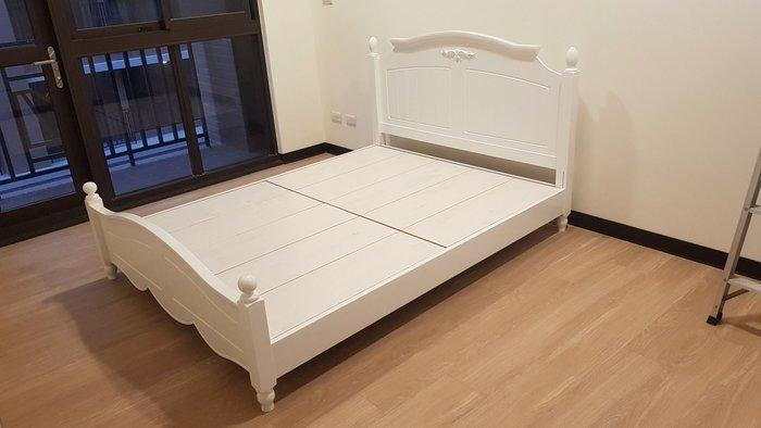 鄉村實木烤白五呎雙人床(另有加大)