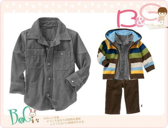 【B& G童裝】正品美國進口GAP橄欖綠燈芯絨長袖襯衫3yrs
