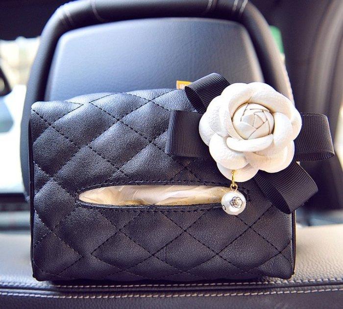 小香風創意高檔汽車用紙巾盒抽車載車內車上遮陽板皮革掛式餐巾紙