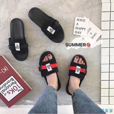 居家家  夏季新款韓版魔術貼外穿ins網紅chic拖鞋女生ulzzang涼拖鞋潮