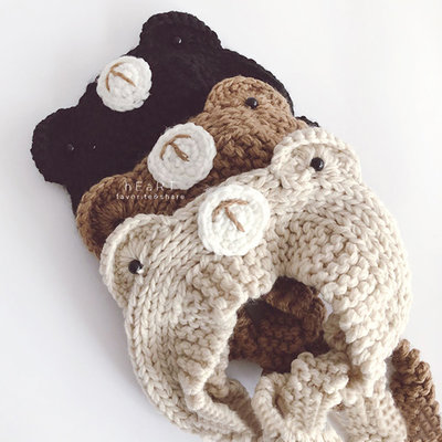 【媽媽倉庫】小熊造型耳朵針織髮帶帽 童帽 帽子