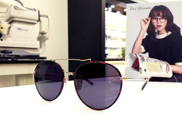 Paul Hueman 韓國熱銷品牌 圓框雙槓太陽眼鏡 兼具復古創新的質感設計 PHS1071A 1071