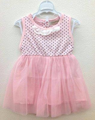 小蜜桃精緻 衣舖~~15052012小童款粉色點點下擺紗裙無袖洋裝 100元可面交