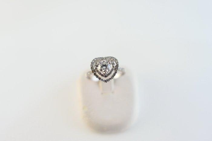 [吉宏精品交流中心]30分 天然鑽石 白K金 八心八箭 心形造型 戒指