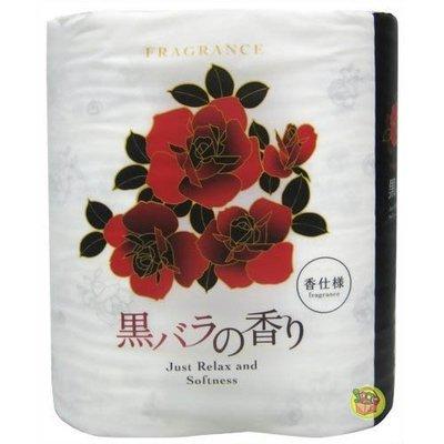 【JPGO】日本製 四國特紙 滾筒式雙層衛生紙 4捲入~黑玫瑰香 #035