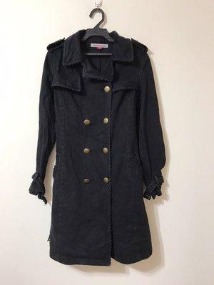 margaret groves 雙排扣 軍裝風格 中長版型 牛仔布料風格 風衣外套 20180309-3A