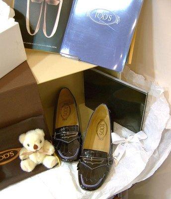 海洋工坊名牌旗艦店~ TOD S 黑漆皮豆豆鞋 (Size:35/35.5)