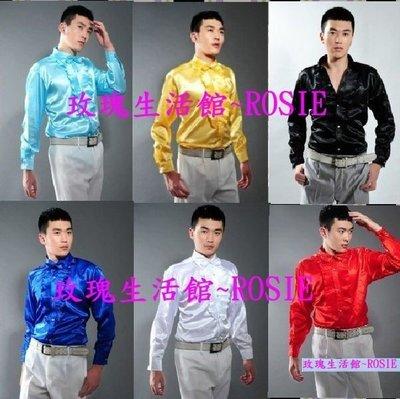 【玫瑰生活館】亮面襯衫,主持人服,演出襯衫,音樂會,新郎襯衫, 白黑水藍紅黃深藍S~L碼