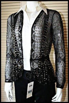 【】異國風奢華貴氣手工珠花繡珠黑色上衣外套罩衫