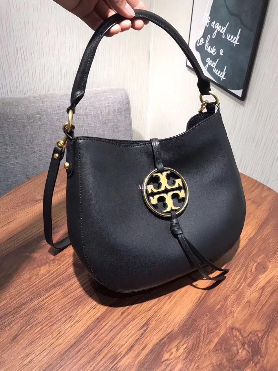 Alina精品代購TORY BURCH 美國輕奢時尚 新款大LOGO 黑色肩背托特包 美國代購