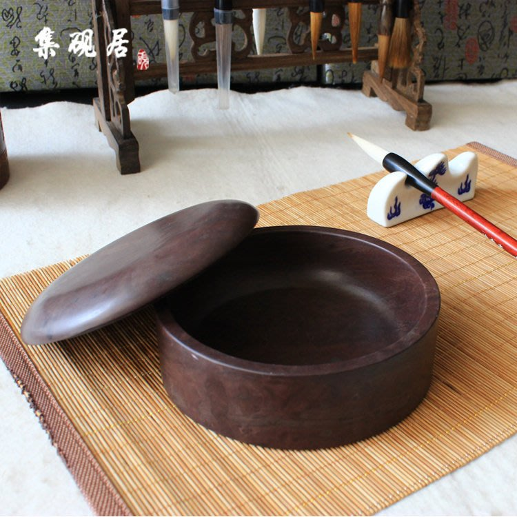 ✠福來緣✠端硯硯台精品正品宋坑帶石蓋5英寸單打硯文房四寶