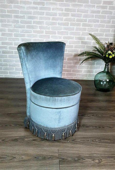 【卡卡頌 歐洲古董】💎法國老件 水藍  流蘇  公主椅  單人小沙發  ch0451 ✬