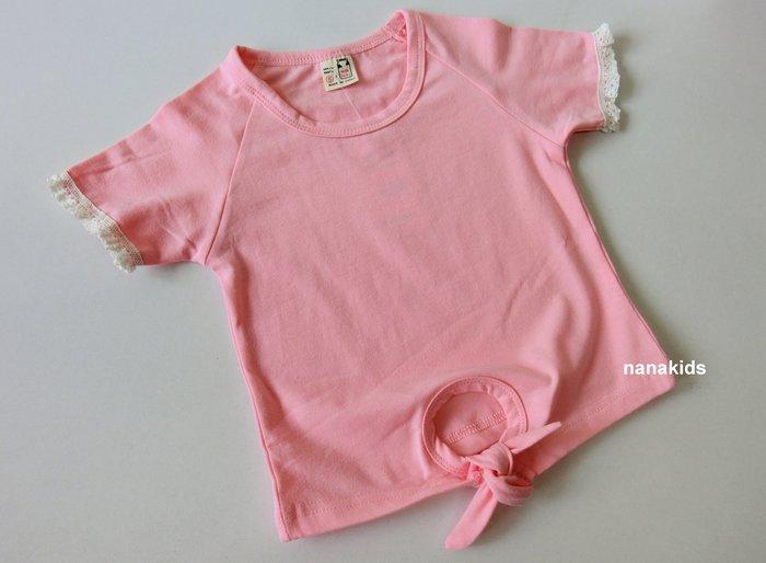 出清夏日款。女童裝。韓版百搭T恤 棉柔短袖T恤 (粉色) 現貨~nanakids娜娜童櫥