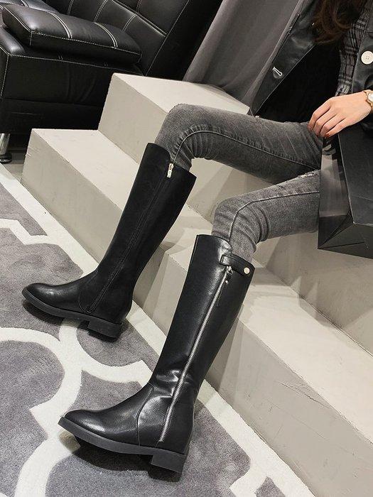 棉靴 機車靴 潮牌 騎士靴 高筒長筒靴女馬靴秋款冬季皮靴后拉鏈不過膝 長靴