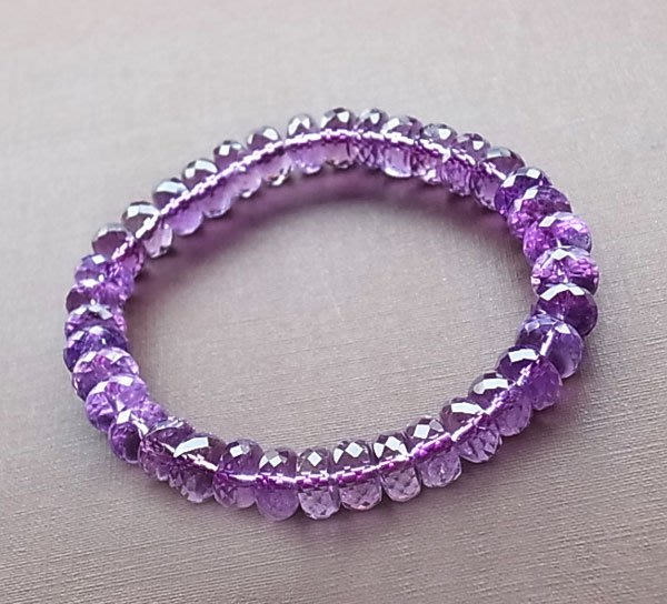 ☆采鑫天然寶石☆**智善之美** 頂級 紫水晶手鍊~ 淨亮鑽切疊珠款
