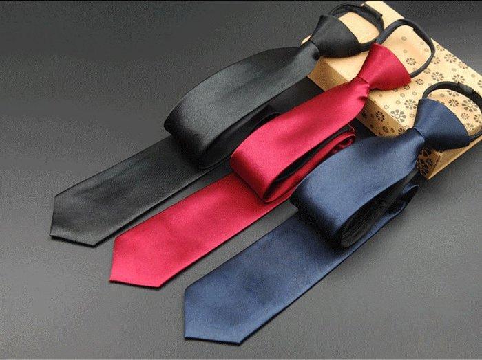 vivi領帶家族/黑色/深藍色/紅色/7cm素面、拉鍊領帶...免打結...(現貨)