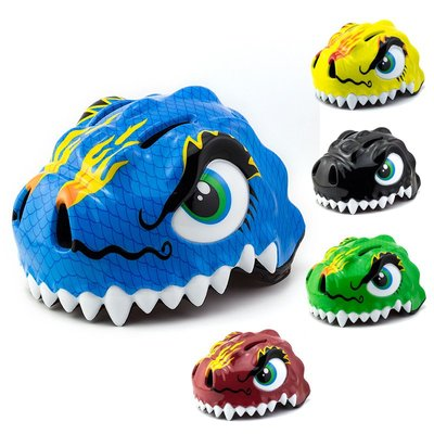 愛車網 兒童頭盔恐龍平衡車安全帽輪滑騎行騎行裝備可愛恐龍自行車護具JHTD-32