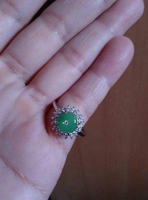 天然緬甸翡翠A貨 陽綠平安扣緬甸翡翠戒指(銀台)