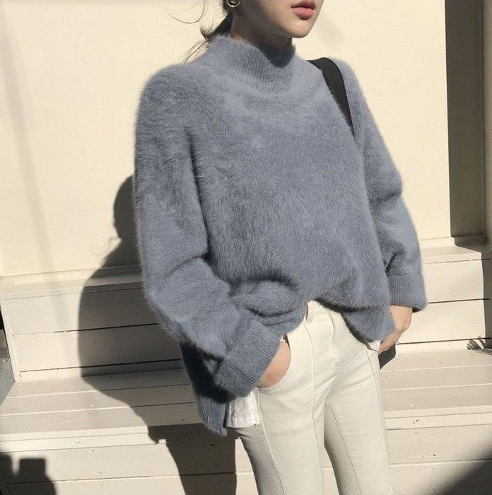 Modem Girl♥100%實拍 正韓 很柔軟的微高領海馬毛衣