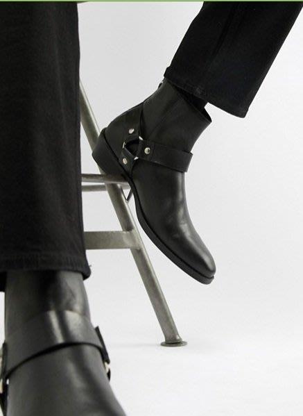 ◎美國代買◎ASOS西部牛仔靴皮帶裝飾鞋面鞋跟拉鏈開合英倫時尚街風尖頭拉鏈開合低筒短筒靴~大尺碼~歐美街風