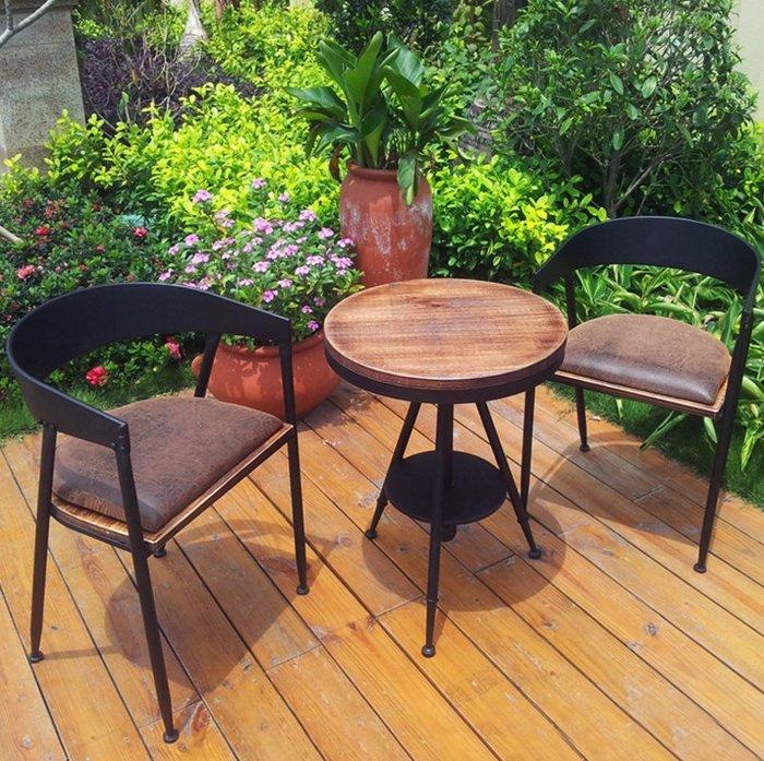 【美式設計】咖啡廳復古工業風桌椅組 酒吧桌椅組 戶外陽台休閒洽談桌 一桌二椅