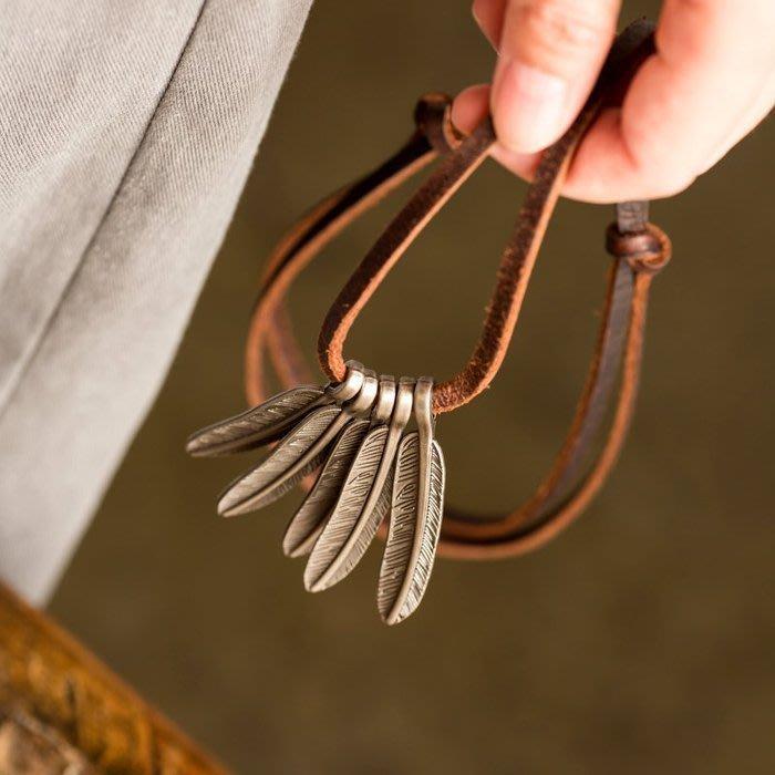 【鈷藍家】簡約文藝百搭羽毛真皮繩子項鏈毛衣鏈-----天使的羽翼