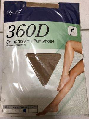 (F05) YOULEG 樂迅 compression Pantyhose  彈性褲襪, 360Den 黑膚二色