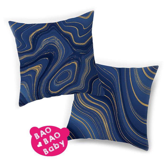【寶貝日雜包】藍色瑪瑙石紋抱枕套 藍色抱枕套 沙發抱枕 靠枕 瑪瑙石紋抱枕 枕套 方型抱枕