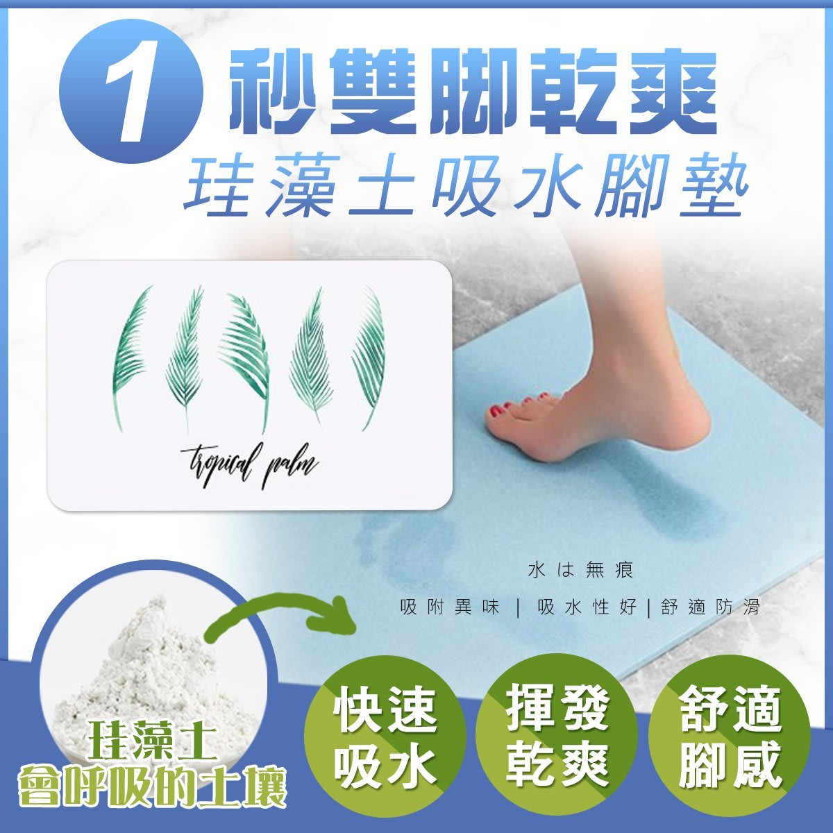 天然日本珪藻土精品墊  40x30cm 浴室吸水地墊 腳踏墊【F1001】