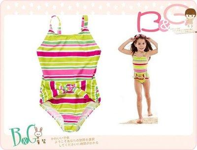 【B& G童裝】正品美國進口Crazy8 Stripe Sash One-Piece Swimsuit條紋連身泳裝 S號 4-6yrs