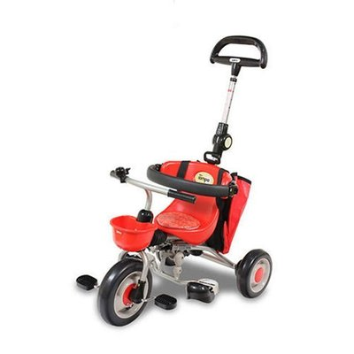 【彩蘋果】日本 ides三輪車 摺疊三輪車 兒童騎乘 外出方便-紅色-送Tsum Tsum 兩入公仔