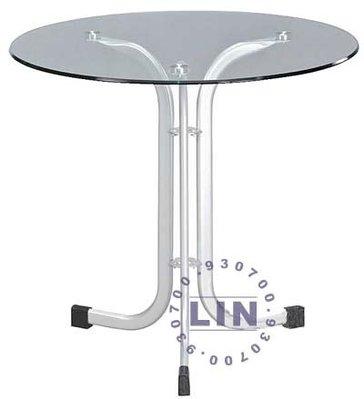 【品特優家具倉儲】R737-24餐桌洽談桌409閃光銀扁管玻璃圓桌