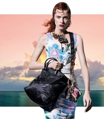 Prada 1BA073 Nylon Beaded Tote Bag 小型繡珠托特包 黑