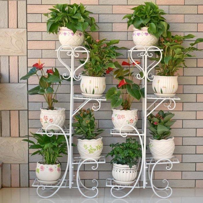 花架歐式落地鐵藝花架多層陽台吊蘭花盆架室內客廳簡約綠蘿花架子wy