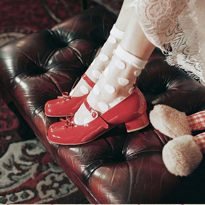 娃娃鞋牛津鞋休閒鞋 纖夢纖盈紅色lolita復古瑪麗珍鞋女一字扣粗跟小香風蝴蝶結小皮鞋