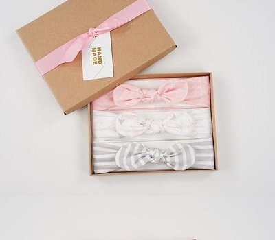 兒童發帶三條裝禮盒 女寶寶時尚蝴蝶結發帶 嬰兒兔耳朵發飾遮囟門
